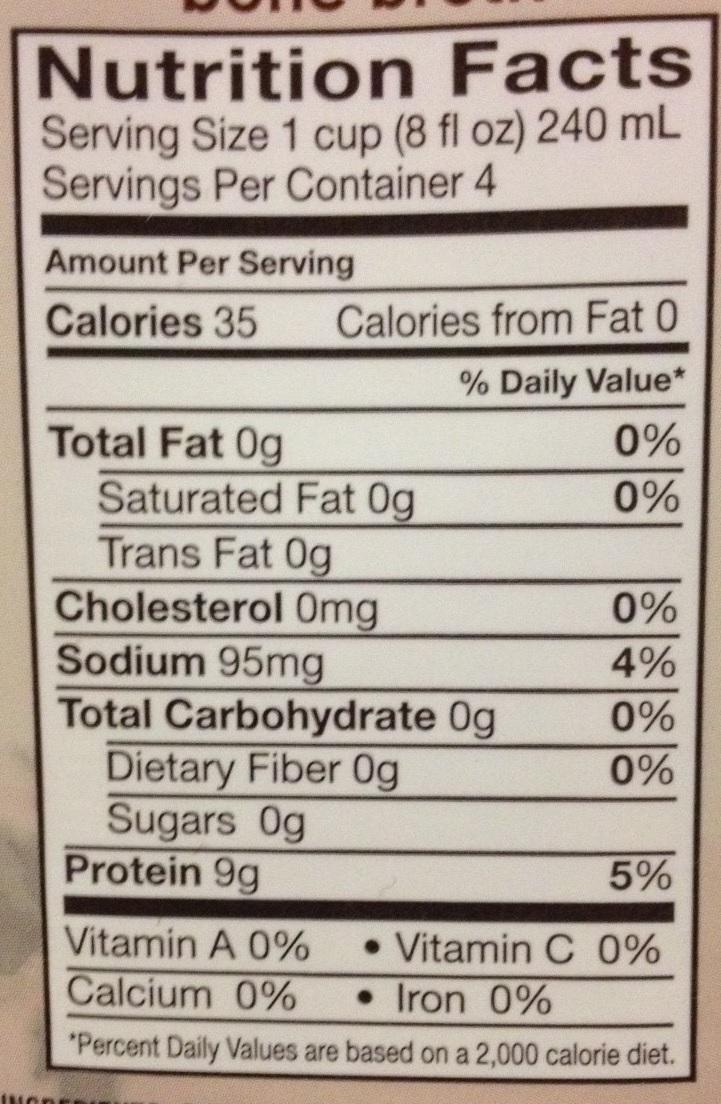 Food Label Whole Calories