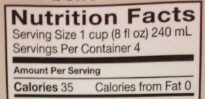 Nutrition Facts Top Part